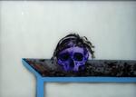 Crâne n° 2 avec perruque - huile sous verre - 50 x 70 cm - 2003
