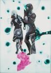 Danseurs (sur Afrique) - huile sous verre - 175 x 125 cm - 1990 - Musée d'art moderne et contemporain Strasbourg