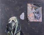Le chien pense au Tintoret - huile, perles sur feuille d'aluminium, stylo à bille,  aquarelle et punaises sur mouchoirs - 122 x 98 cm - n°17/2000