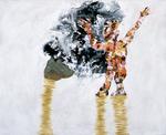Petite figure au chien - huile et oxydation sur cuivre - 32 x 45 cm - 1993