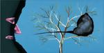 Sans titre n° 1  (rideau disant bébé dans un arbre) - huile sous verre - 78x143 cm - n° 2/2002 - série Caprices