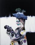 Maternité (avec chapeau) - huile sous verre - 148 x 116 cm - 1999