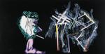 Sans titre n°15 (fumeur avec idée floue) - huile sous verre - 78x143 cm - n° 22/2002 - série Caprices