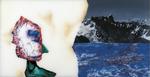 Sans titre n° 6  (bonhomme regardant la mer et la montagne) - huile sous verre - 78x143 cm - n° 7/2002 - série Caprices