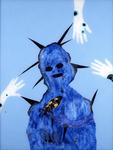 Tête mélo avec oiseau - huile sous verre - 125 x 95 cm - 1992