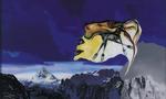 La montagne pense VI - huile sous verre - 95 x 154 cm - 1999