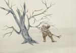 Bûcheron - crayon et crayon couleur sur papier - 30 x 42 cm - 2012