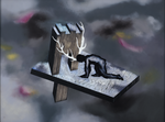 """Suite Hölderlin """"Wie wenn..."""" gris - huile sous verre - 117 x 154 cm - 1997"""