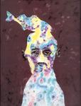 Tête (avec poisson) - huile sous verre - 70 x 88 cm - 1991 - série des 50 têtes regardant à gauche et à droite
