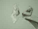Sans titre - crayon, encre et gouache blanche sur papier bleu gris - 21 x 35 cm