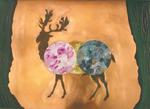 Sans titre (cerf) - huile et oxydation sur cuivre - 32 x 45 cm - 1993