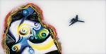 Sans titre n° 9  (yeux et nez dans gangue regardant avion) - huile sous verre - 78x143 cm - n° 10/2002 - série Caprices