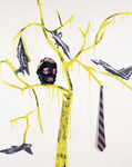 Inakalé IV - huile sur toile, cravates- 230 x 180 cm - 2002