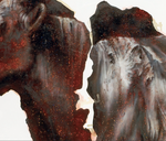 Détail panneau central triptyque (personnages avec moteurs et vache) - acryl, huile et perles de verre - 2005