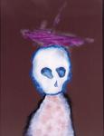 Tête (avec voilier) - huile sous verre - 64 x 80 cm - 1991 - série des 50 têtes regardant à gauche et à droite
