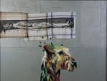 Le chien pense à Holbein - huile, mouchoirs peints et punaises sur bois préparé - 122 x 164 cm - 1999