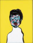 Tête (avec langue) - huile sous verre - 70 x 88 cm - 1994 - série des 50 têtes regardant à gauche et à droite