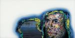 Sans titre n° 8  (portrait  et  eau dans gangue de couleur) - huile sous verre - 78x143 cm - n° 9/2002 -série Caprices