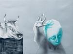 Sans titre - crayon, encre et gouache sur Zerkall bleu gris - 24 x 32 cm - 2012