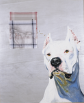 Le chien pense ( à David) - huile et dessin sur mouchoirs, punaises - 154 x 126 cm - 1999