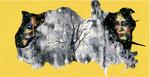 Sans titre n°14 (cadre jaune) - huile sous verre - 78x143 cm - n° 21/2002 - série Caprices