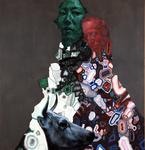 Deux personnages avec tête de vache - huile et acryl sur toile - 154 x 147 cm - n° 15/2006