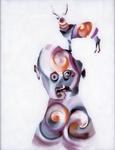 Tête (avec cerf) - huile sous verre - 70x 88 cm - 1991 - série des 50 têtes regardant à gauche et à droite
