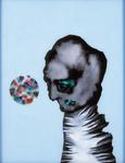 Tête (avec disque) - huile sous verre - 70 x 80 cm - 1994 - série des 50 têtes regardant à gauche et à droite