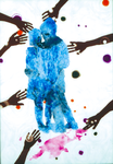 Danseurs (sur Nouvelle Guinée) - huile sous verre - 175 x 125 cm -1990 - Musée d'art moderne et contemporain Strasbourg