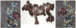 Triptyque (personnages avec moteurs et vache) - huile et acrylique avec perles de verre sur toile -  (2 x) 175 x 128 cm et 145 x 208 cm - 2005