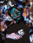 Tête (avec pierre) - huile sous verre - 70 x 88 cm - 1994 - série des 50 têtes regardant à gauche et à droite