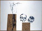Composition avec branche morte - liège, boutons, perles sur panneau préparé - 114 x 152 cm - 1996