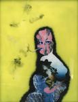 Maternité (avec cigarette fond jaune) - huile sous verre - 130 x 100 cm - 2004