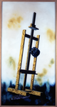 Composition au chevalet - huile sous verre - 200 x 108 cm - 1996