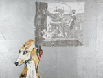 Le chien pense à Poussin - huile, soie peinte et perles de verre sur bois préparé - 122 x 164 cm - 1999