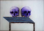 Deux crânes n° 5 - huile sous verre - 50 x 70 cm - 2003