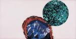 Sans titre n° 10  (montagne et sphère sur fond rose) - huile sous verre - 78x143 cm - n° 11/2002 - série Caprices