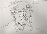 Dumme Zeichnungen (dessins idiots)  - feutre pinceau sur papier - 30 x 41 cm - carnet du 12 avril à juin 2016/1 mai au 5juin 2018 (sélection)