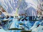 Détail, hommage à Ruysdael V (avec ciel dramatique) - huile sous verre - 100 x 130 cm - 2004