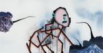 Sans titre n°20 (chien-bâtons disant montagnes) - huile sous verre - 78x143 cm - n° 27/2002 - série Caprices