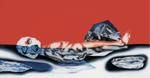 Sans titre n°18 (homme couché dans l'eau) - huile sous verre - 78x143 cm - n° 25/2002 - série Caprices