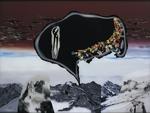 La montagne pense VII - huile sous verre - 95 x 154 cm - 1999