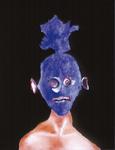 Tête (avec France) - huile sous verre - 70 x 88 cm - 1991 - série des 50 têtes regardant à gauche et à droite - Frac Poitou-Charentes