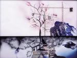 Hommage à Ruysdael I (arbre en feu) - huile sous verre - 100 x 130 cm - 2003