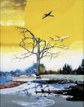 Paysage moderne V (jaune) - huile sous verre - 154 x 125 cm - 2001