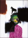 Tête (avec chien) - huile sous verre - 70 x 88 cm - 1994 - série des 50 têtes regardant à gauche et à droite