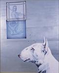 Le chien pense à Ribera - huile, perles sur feuille d'alu, stylo à bille et punaises sur mouchoirs - 150 x 124 cm - n°11/2000