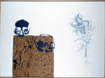 Composition avec lys - liège, boutons, perles sur panneau préparé - 114 x 152 cm - 1996