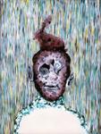 Tête (avec lapin) - huile sous verre - 70 x 88 cm - 1994 - série des 50 têtes regardant à gauche et à droite - Frac Franche-Comté