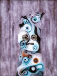Tête (avec chat) - huile sous verre - 70 x 88 cm - 1994 - série des 50 têtes regardant à gauche et à droite -  Frac Rhône-Alpes